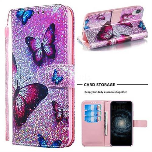 Blue Butterfly Sequins Painted Leather Wallet Case for iPhone Xr (6.1 inch)