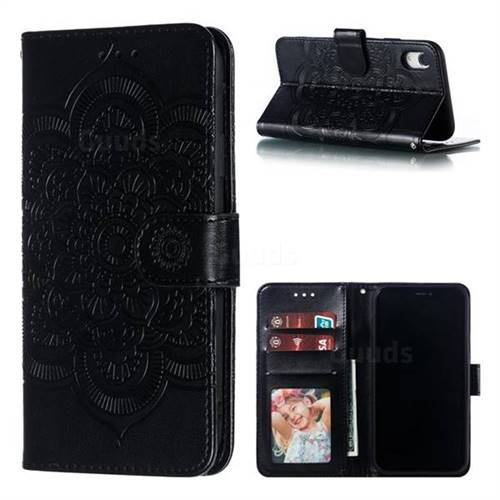 Intricate Embossing Datura Solar Leather Wallet Case for iPhone Xr (6.1 inch) - Black