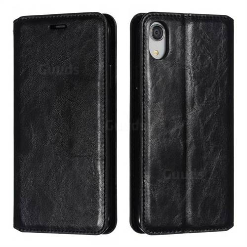 Retro Slim Magnetic Crazy Horse PU Leather Wallet Case for iPhone Xr (6.1 inch) - Black