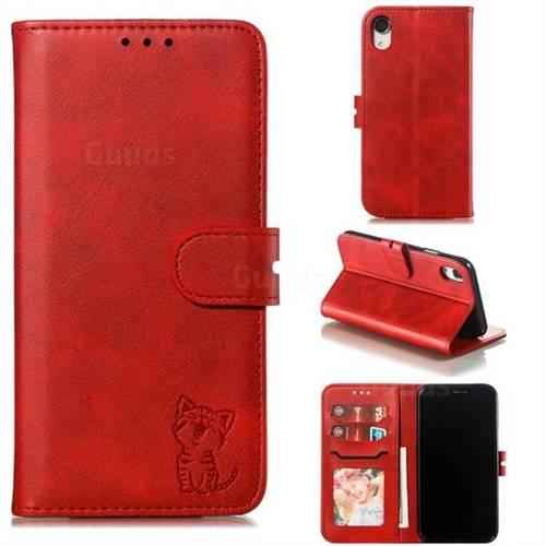 Embossing Happy Cat Leather Wallet Case for iPhone Xr (6.1 inch) - Red