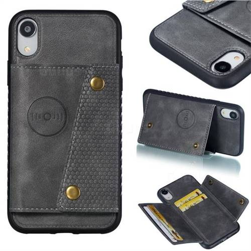 Retro Multifunction Card Slots Stand Leather Coated Phone Back Cover for iPhone Xr (6.1 inch) - Gray
