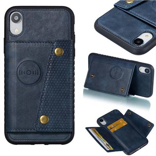 Retro Multifunction Card Slots Stand Leather Coated Phone Back Cover for iPhone Xr (6.1 inch) - Blue