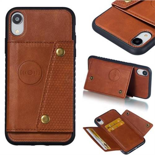 Retro Multifunction Card Slots Stand Leather Coated Phone Back Cover for iPhone Xr (6.1 inch) - Brown