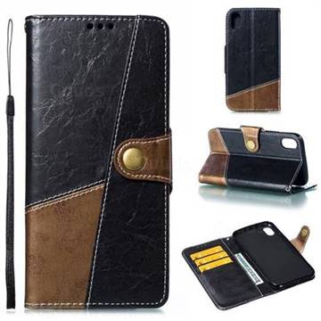 Retro Magnetic Stitching Wallet Flip Cover for iPhone Xr (6.1 inch) - Dark Gray