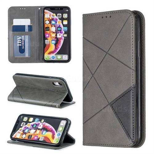 Prismatic Slim Magnetic Sucking Stitching Wallet Flip Cover for iPhone Xr (6.1 inch) - Gray