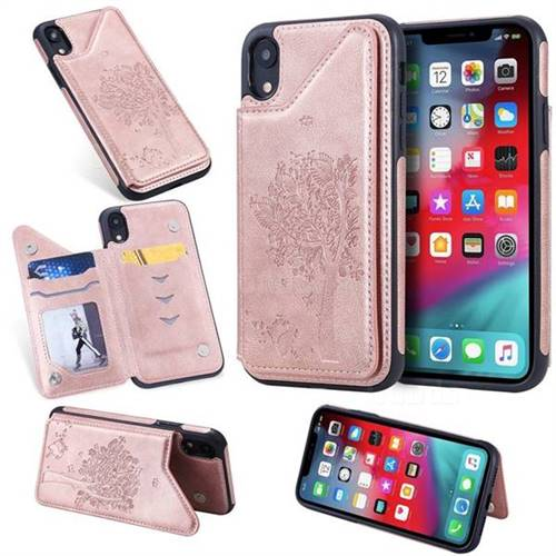 Luxury Tree and Cat Multifunction Magnetic Card Slots Stand Leather Phone Back Cover for iPhone Xr (6.1 inch) - Rose Gold