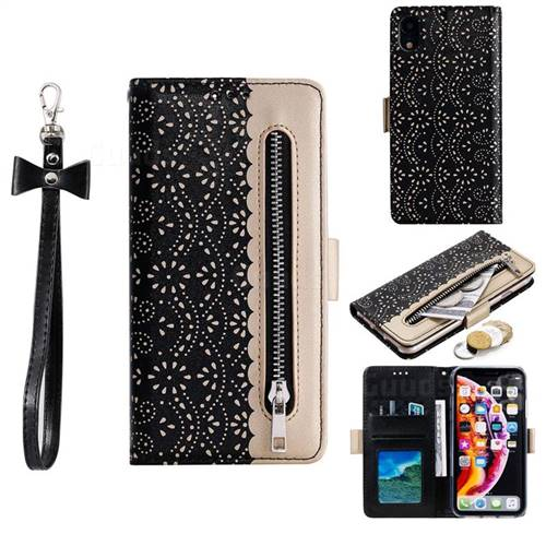 Luxury Lace Zipper Stitching Leather Phone Wallet Case for iPhone Xr (6.1 inch) - Black