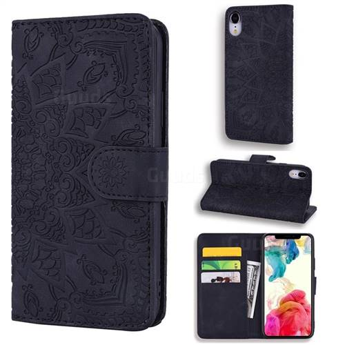 Retro Embossing Mandala Flower Leather Wallet Case for iPhone Xr (6.1 inch) - Black
