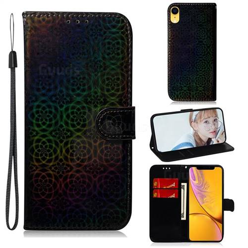 Laser Circle Shining Leather Wallet Phone Case for iPhone Xr (6.1 inch) - Black