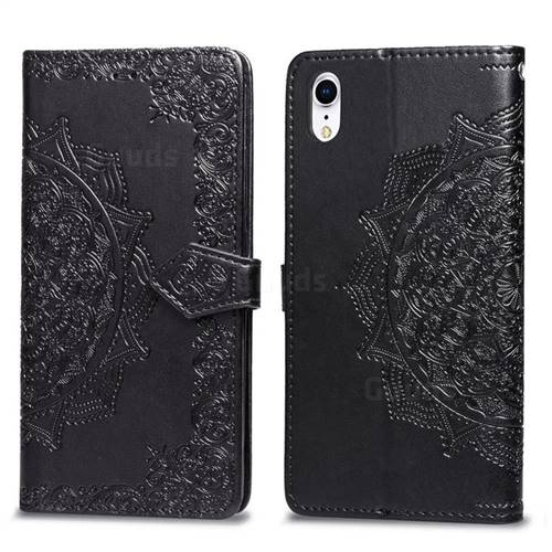 Embossing Imprint Mandala Flower Leather Wallet Case for iPhone Xr (6.1 inch) - Black