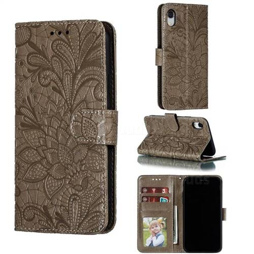 Intricate Embossing Lace Jasmine Flower Leather Wallet Case for iPhone Xr (6.1 inch) - Gray