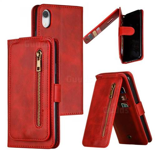 Multifunction 9 Cards Leather Zipper Wallet Phone Case for iPhone Xr (6.1 inch) - Red