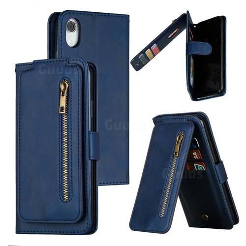 Multifunction 9 Cards Leather Zipper Wallet Phone Case for iPhone Xr (6.1 inch) - Blue