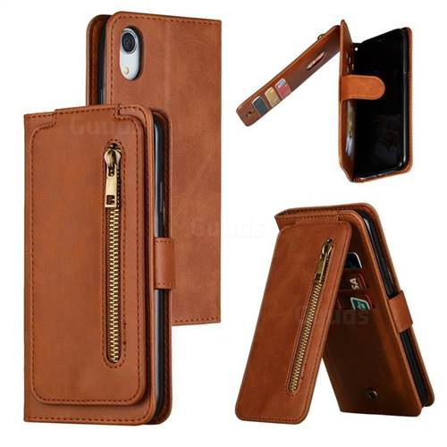 Multifunction 9 Cards Leather Zipper Wallet Phone Case for iPhone Xr (6.1 inch) - Brown