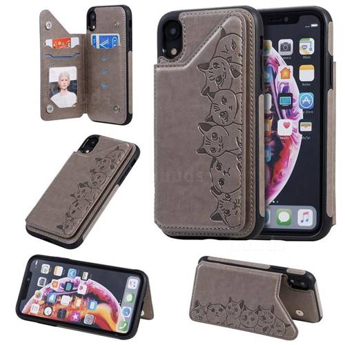 Yikatu Luxury Cute Cats Multifunction Magnetic Card Slots Stand Leather Back Cover for iPhone Xr (6.1 inch) - Gray