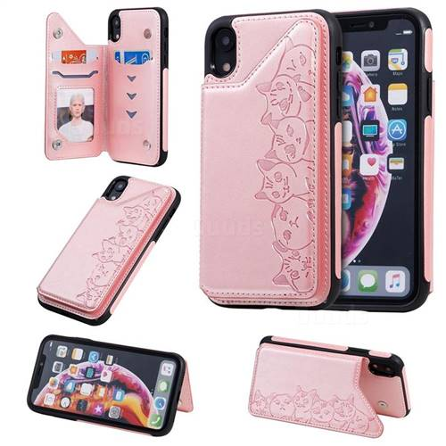 Yikatu Luxury Cute Cats Multifunction Magnetic Card Slots Stand Leather Back Cover for iPhone Xr (6.1 inch) - Rose Gold