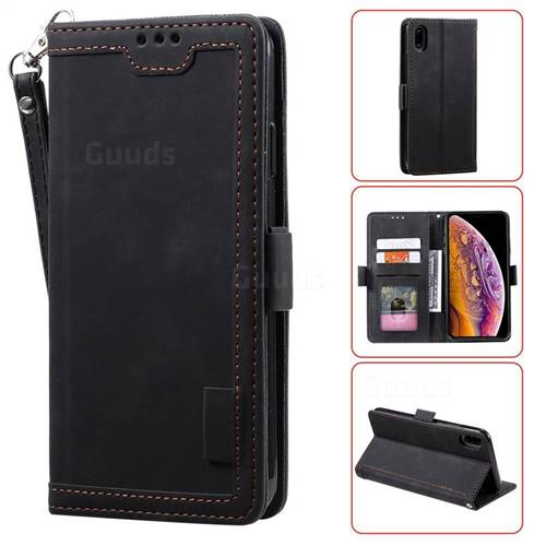 Luxury Retro Stitching Leather Wallet Phone Case for iPhone Xr (6.1 inch) - Black