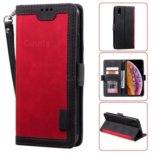 Luxury Retro Stitching Leather Wallet Phone Case for iPhone Xr (6.1 inch) - Deep Red