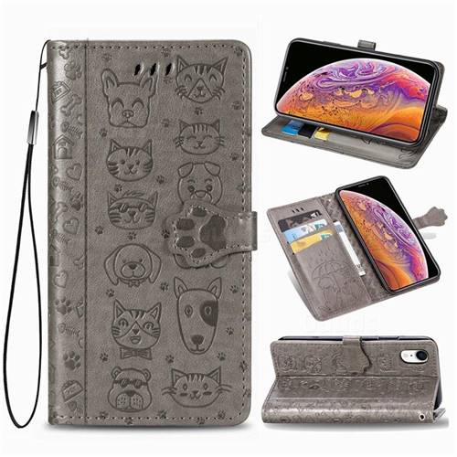 Embossing Dog Paw Kitten and Puppy Leather Wallet Case for iPhone Xr (6.1 inch) - Gray
