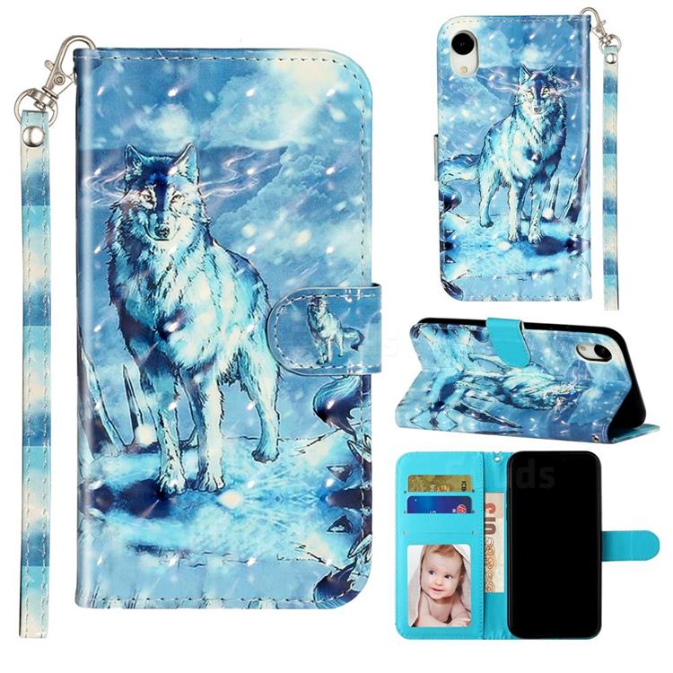 Snow Wolf 3D Leather Phone Holster Wallet Case for iPhone Xr (6.1 inch)