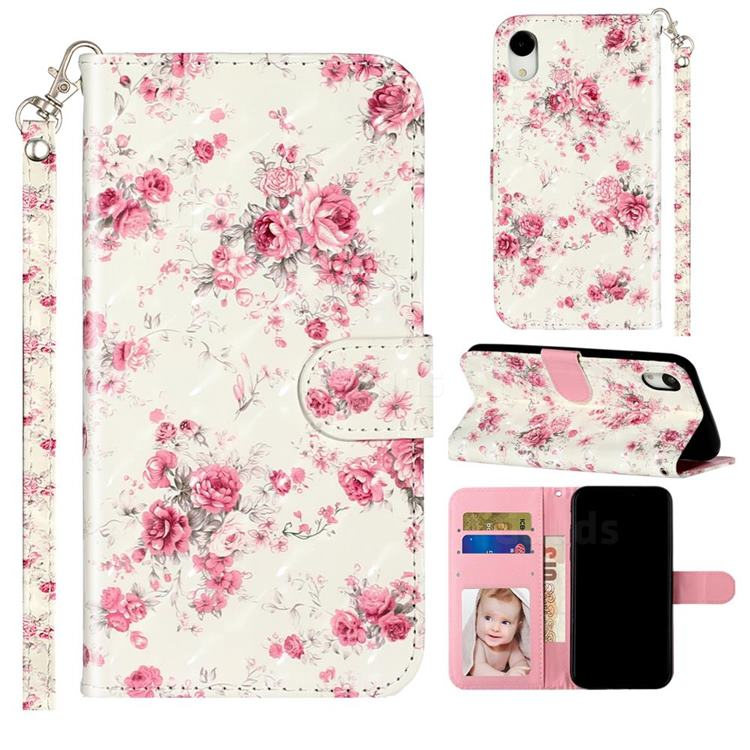 Rambler Rose Flower 3D Leather Phone Holster Wallet Case for iPhone Xr (6.1 inch)