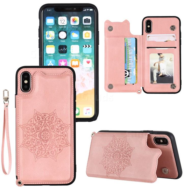 Luxury Mandala Multi-function Magnetic Card Slots Stand Leather Back Cover for iPhone Xr (6.1 inch) - Rose Gold