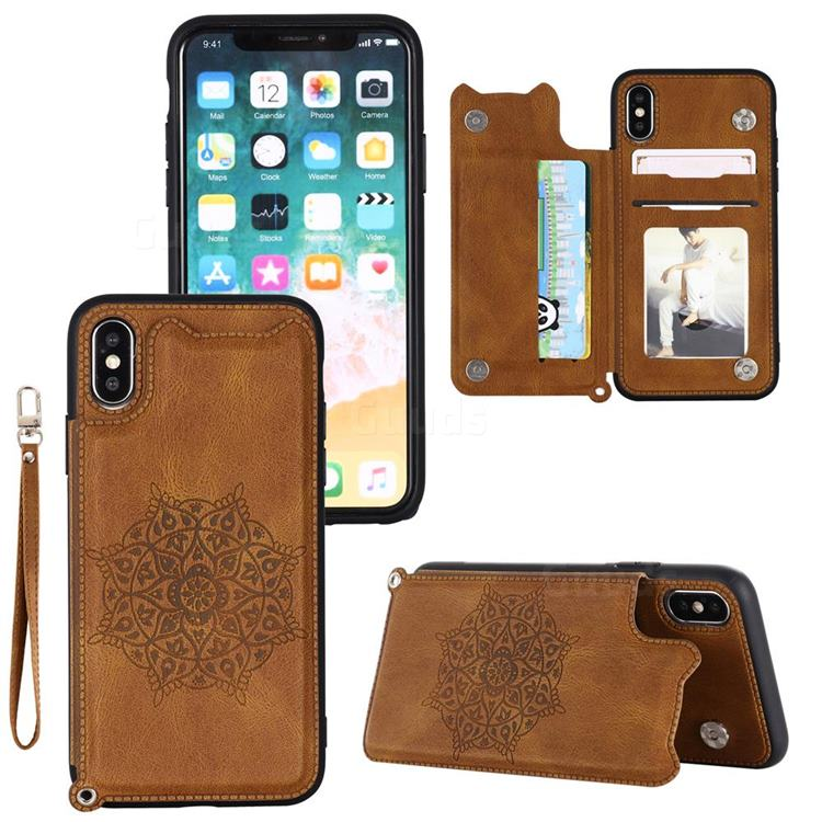 Luxury Mandala Multi-function Magnetic Card Slots Stand Leather Back Cover for iPhone Xr (6.1 inch) - Brown