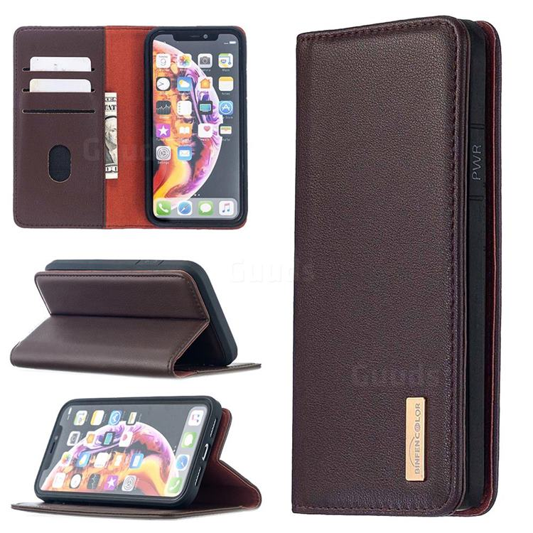 Binfen Color BF06 Luxury Classic Genuine Leather Detachable Magnet Holster Cover for iPhone Xr (6.1 inch) - Dark Brown