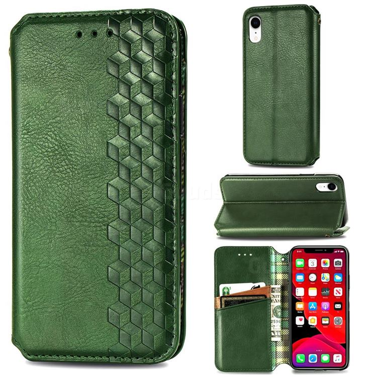 Ultra Slim Fashion Business Card Magnetic Automatic Suction Leather Flip Cover for iPhone Xr (6.1 inch) - Green