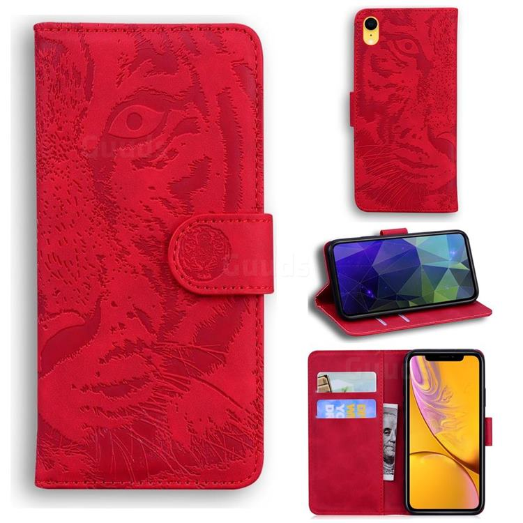 Intricate Embossing Tiger Face Leather Wallet Case for iPhone Xr (6.1 inch) - Red
