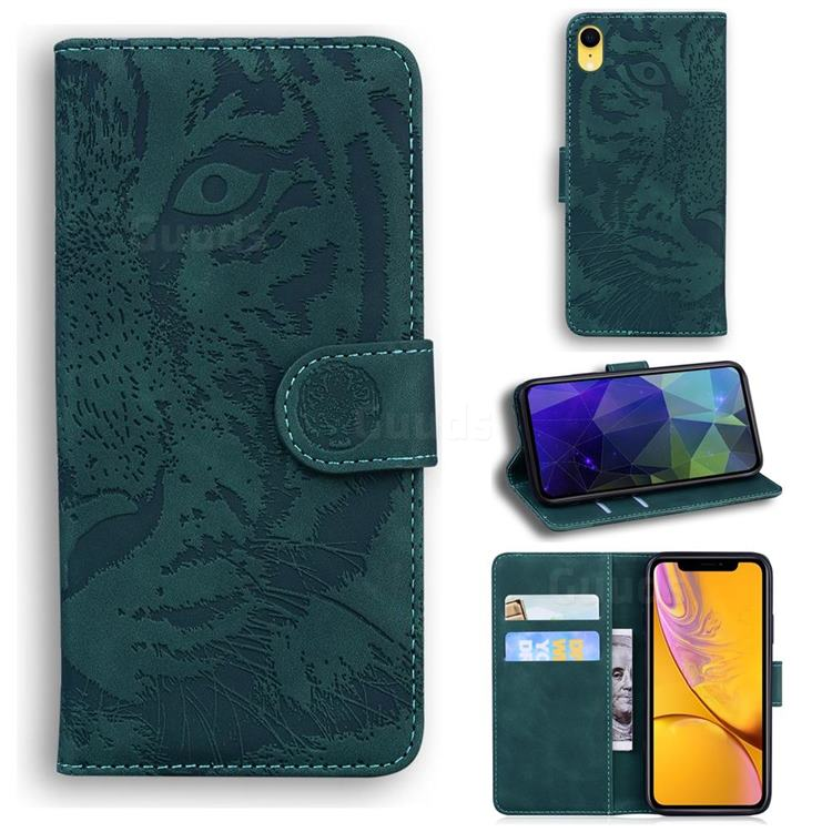Intricate Embossing Tiger Face Leather Wallet Case for iPhone Xr (6.1 inch) - Green