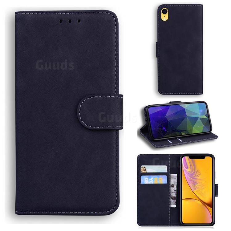 Retro Classic Skin Feel Leather Wallet Phone Case for iPhone Xr (6.1 inch) - Black