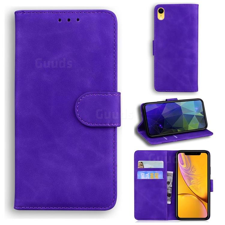 Retro Classic Skin Feel Leather Wallet Phone Case for iPhone Xr (6.1 inch) - Purple