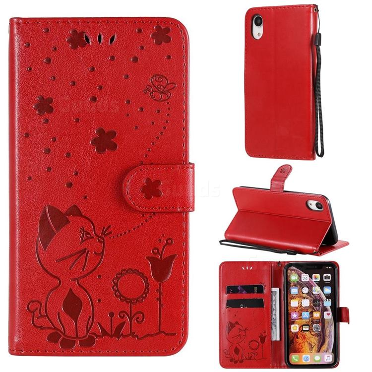 Embossing Bee and Cat Leather Wallet Case for iPhone Xr (6.1 inch) - Red