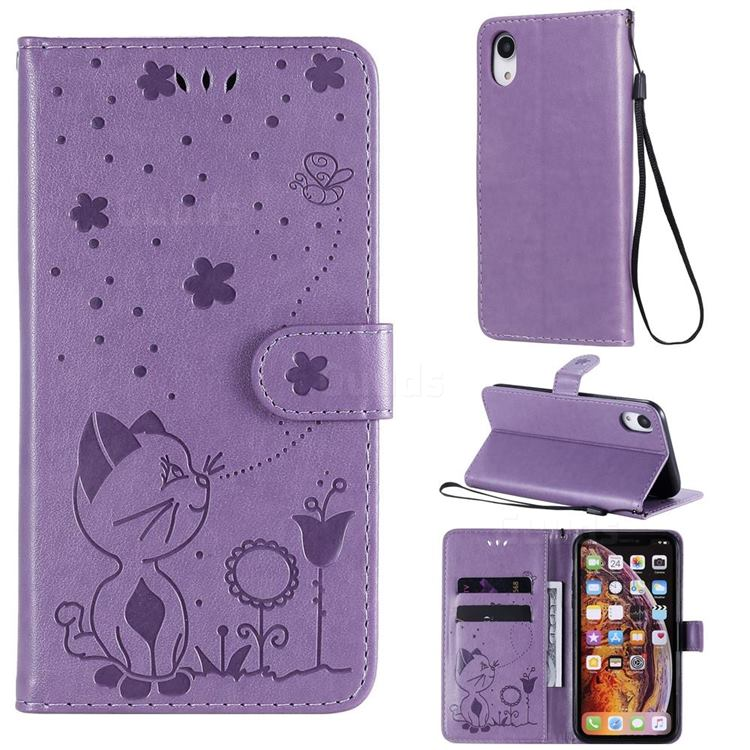 Embossing Bee and Cat Leather Wallet Case for iPhone Xr (6.1 inch) - Purple