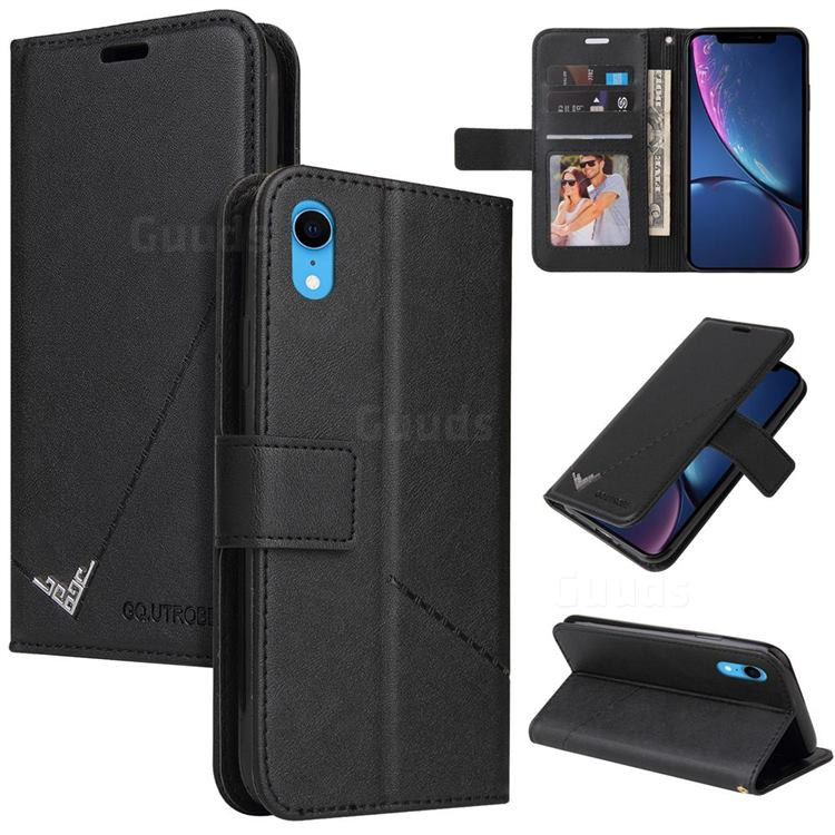 GQ.UTROBE Right Angle Silver Pendant Leather Wallet Phone Case for iPhone Xr (6.1 inch) - Black