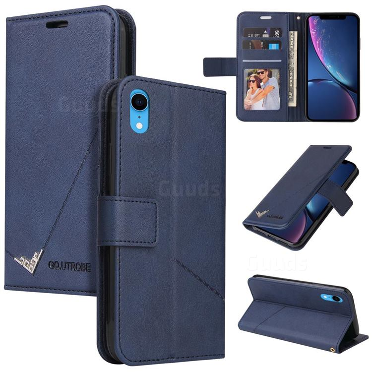 GQ.UTROBE Right Angle Silver Pendant Leather Wallet Phone Case for iPhone Xr (6.1 inch) - Blue