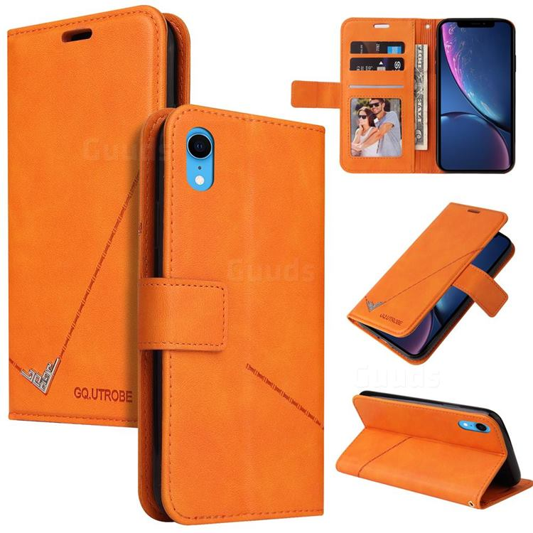 GQ.UTROBE Right Angle Silver Pendant Leather Wallet Phone Case for iPhone Xr (6.1 inch) - Orange