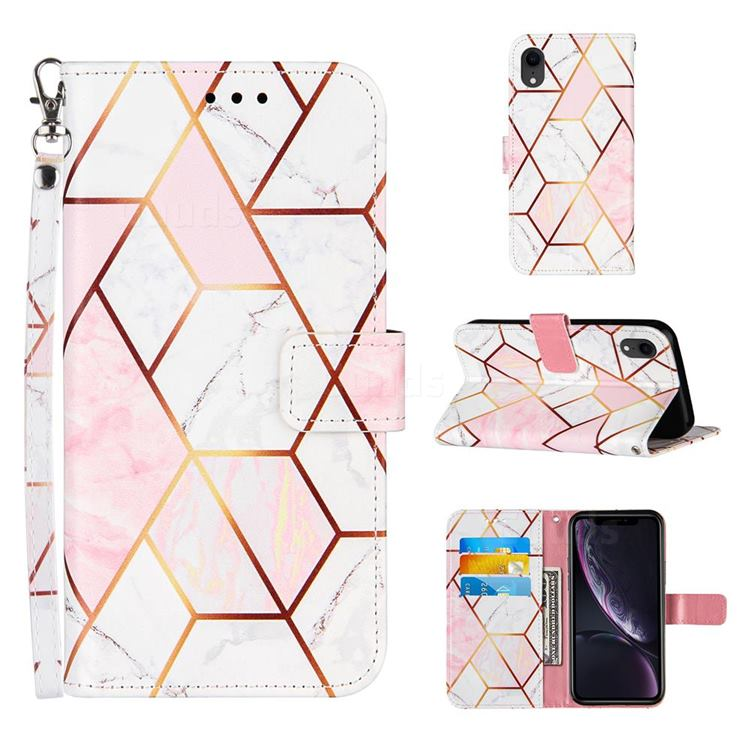 Pink White Stitching Color Marble Leather Wallet Case for iPhone Xr (6.1 inch)