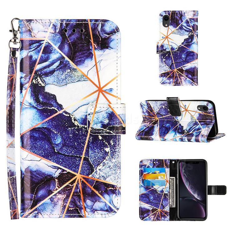Starry Blue Stitching Color Marble Leather Wallet Case for iPhone Xr (6.1 inch)