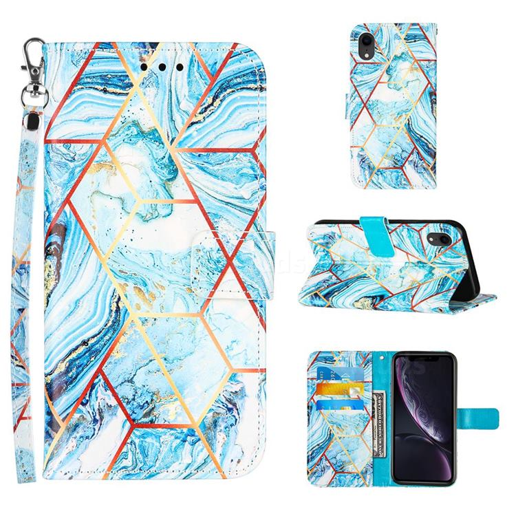 Lake Blue Stitching Color Marble Leather Wallet Case for iPhone Xr (6.1 inch)