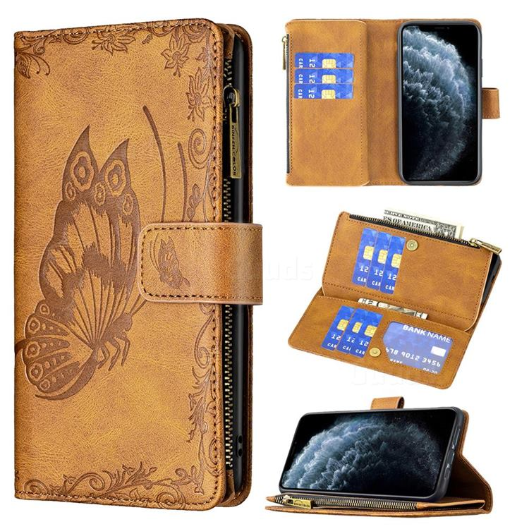 Binfen Color Imprint Vivid Butterfly Buckle Zipper Multi-function Leather Phone Wallet for iPhone Xr (6.1 inch) - Brown