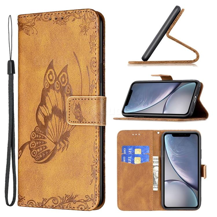 Binfen Color Imprint Vivid Butterfly Leather Wallet Case for iPhone Xr (6.1 inch) - Brown