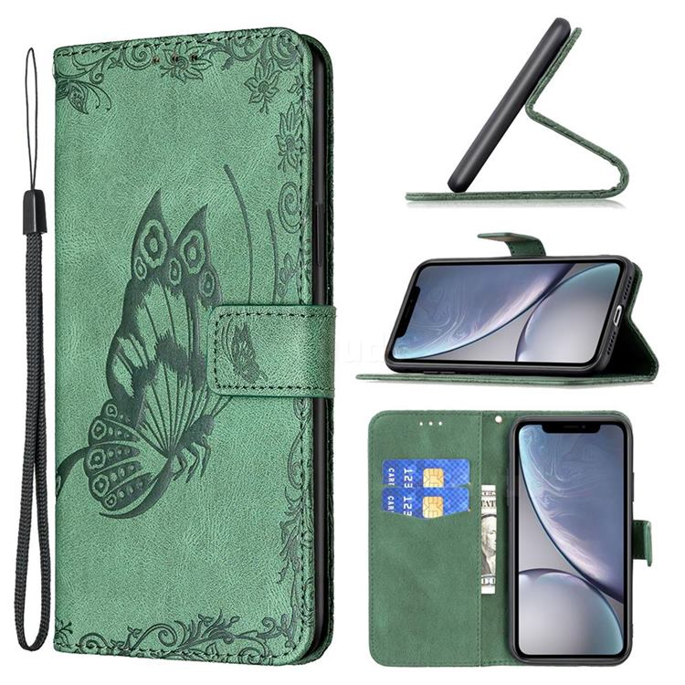 Binfen Color Imprint Vivid Butterfly Leather Wallet Case for iPhone Xr (6.1 inch) - Green