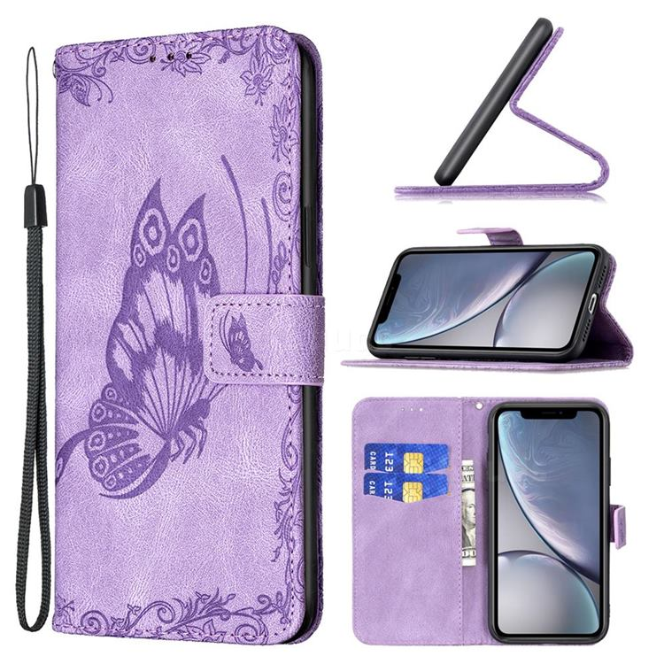 Binfen Color Imprint Vivid Butterfly Leather Wallet Case for iPhone Xr (6.1 inch) - Purple