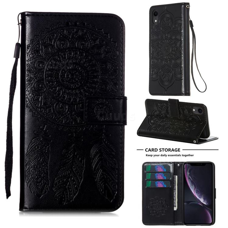 Embossing Dream Catcher Mandala Flower Leather Wallet Case for iPhone Xr (6.1 inch) - Black