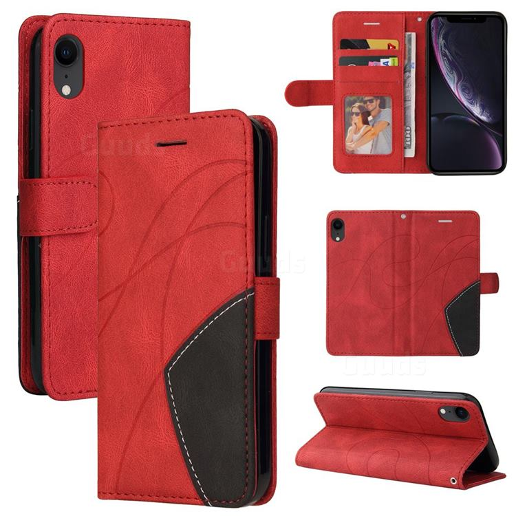 Luxury Two-color Stitching Leather Wallet Case Cover for iPhone Xr (6.1 inch) - Red