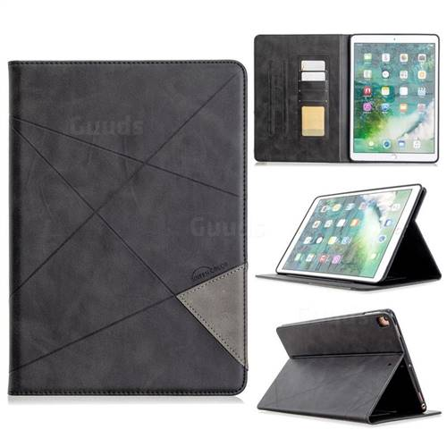 Binfen Color Prismatic Slim Magnetic Sucking Stitching Wallet Flip Cover for Apple iPad 10.2 (2019) - Black