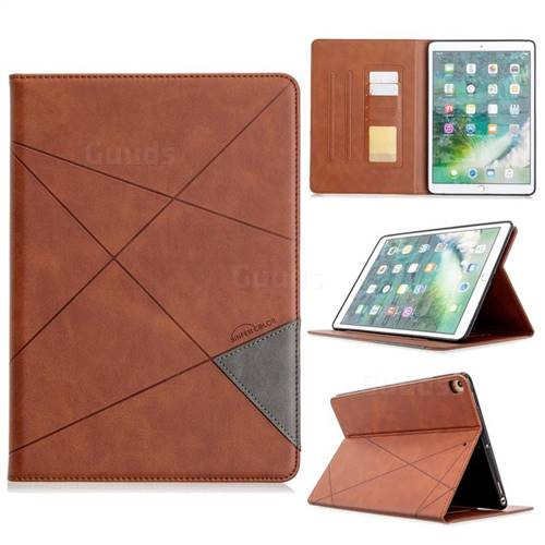 Binfen Color Prismatic Slim Magnetic Sucking Stitching Wallet Flip Cover for Apple iPad 10.2 (2019) - Brown