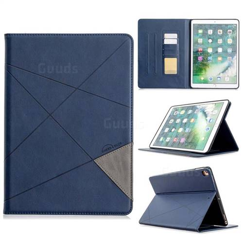 Binfen Color Prismatic Slim Magnetic Sucking Stitching Wallet Flip Cover for Apple iPad 10.2 (2019) - Blue